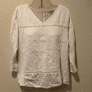 Lucky brand eyelet embroidered long sleeve blouse